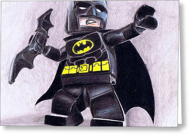 Colours Pastels Greeting Cards - Lego batman Greeting Card by Jamie Blackbourn