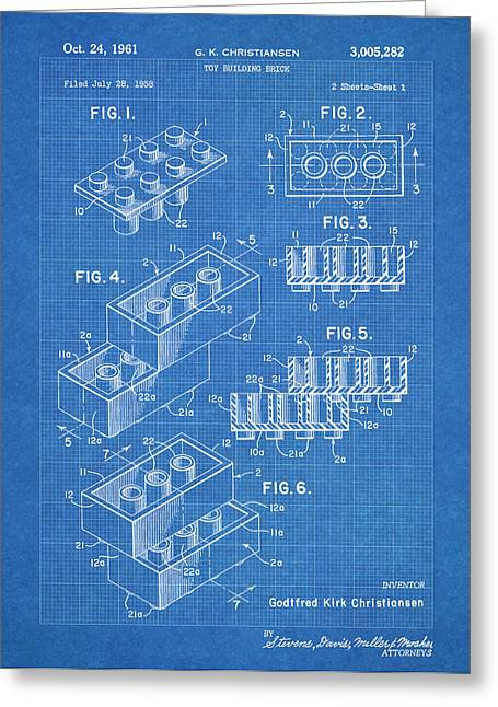 Lego Blocks Blueprint Greeting Card by Stephen Chambers