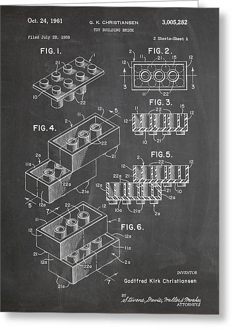 Lego Blocks Patent Art Chalkboard Greeting Card by Stephen Chambers