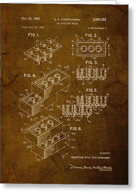 Lego Mixed Media Greeting Cards - Lego Brick Vintage Patent on Worn Canvas Greeting Card by Design Turnpike