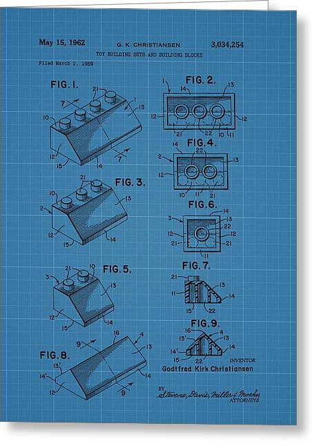 Lego Building Blocks Blueprint Patent Greeting Card by Dan Sproul