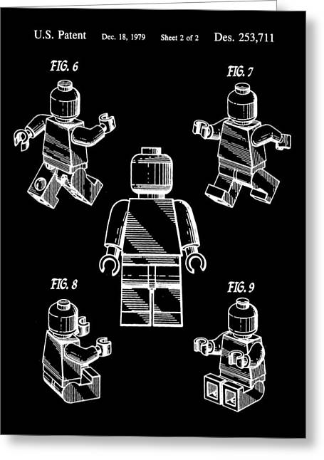 Lego Greeting Cards - Lego Figure Patent 1979 - Black Greeting Card by Stephen Younts