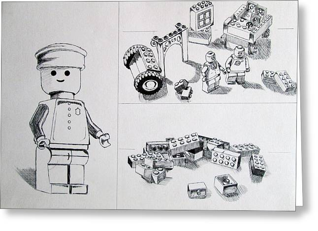 Lego Life Greeting Card by Caitlin Mitchell