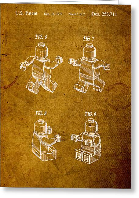 Lego Mixed Media Greeting Cards - Lego Minifig Vintage Patent 2 on Worn Canvas Greeting Card by Design Turnpike