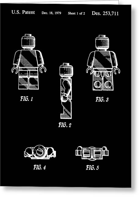 Lego Greeting Cards - Lego Minifigurine Patent Greeting Card by Dan Sproul