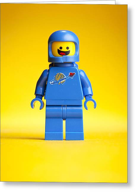 Toys Greeting Cards - Lego Movie Benny Greeting Card by Samuel Whitton