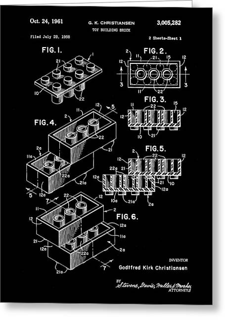 Lego Patent 1958 - Black Greeting Card by Stephen Younts