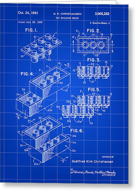 Best Sellers -  - Lego Greeting Cards - Lego Patent 1958 - Blue Greeting Card by Stephen Younts