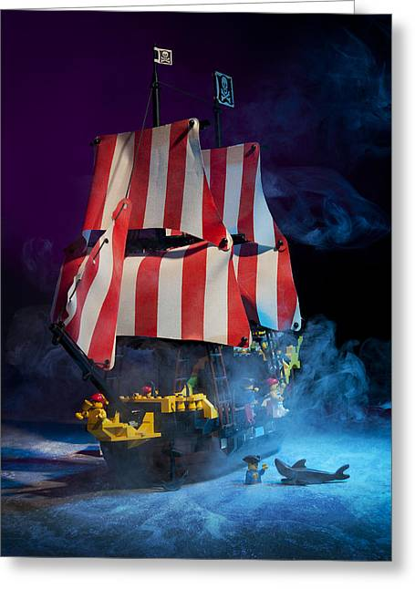 Pirate Ship Greeting Cards - Lego Pirate Ship Greeting Card by Samuel Whitton