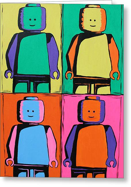 Lego Greeting Cards - Lego Pop Art Man Greeting Card by Kaz Innes