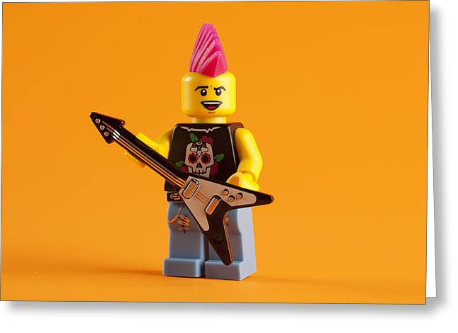 Rockers Greeting Cards - Lego Punk Rocker Greeting Card by Samuel Whitton
