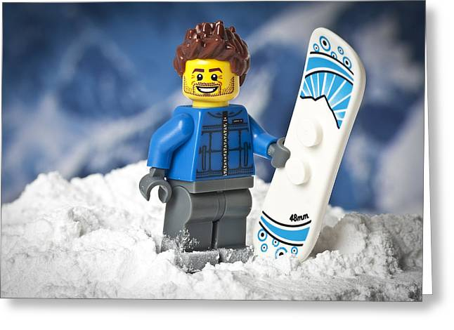 Snowboard Greeting Cards - Lego Snowboarder Greeting Card by Samuel Whitton