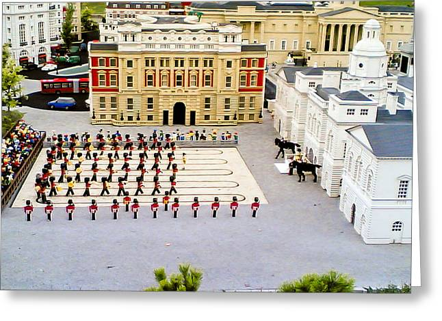 Marching Band Greeting Cards - Lego Soldiers at Buckingham Palace Greeting Card by Dave Cawkwell