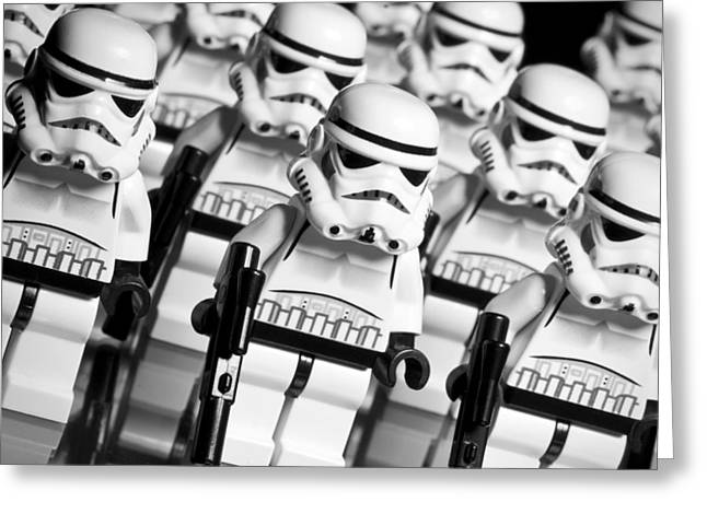 Star Alliance Greeting Cards - Lego Storm Trooper Army Greeting Card by Samuel Whitton