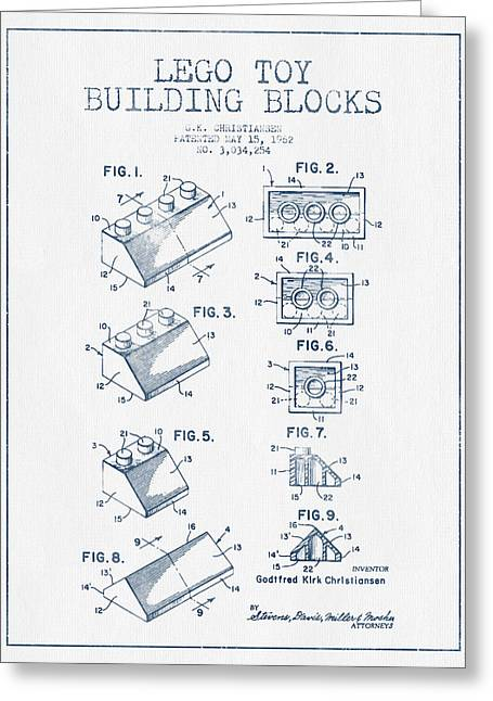 Science Fiction Art Greeting Cards - Lego Toy Building Blocks Patent - Blue Ink Greeting Card by Aged Pixel