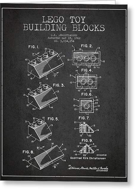 Science Fiction Art Greeting Cards - Lego Toy Building Blocks Patent - Dark Greeting Card by Aged Pixel