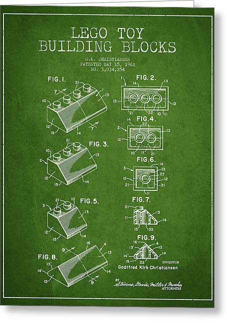 Science Fiction Art Greeting Cards - Lego Toy Building Blocks Patent - Green Greeting Card by Aged Pixel