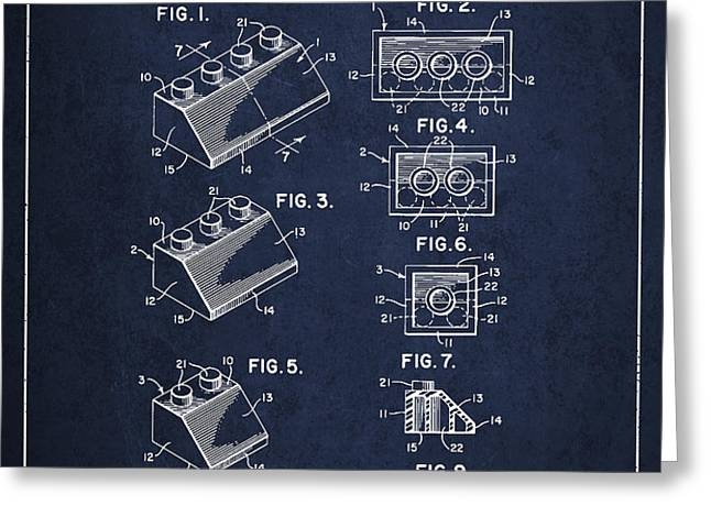 Lego Toy Building Blocks Patent - Navy Blue Greeting Card by Aged Pixel