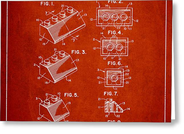 Lego Toy Building Blocks Patent - Red Greeting Card by Aged Pixel