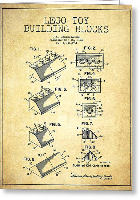 Game Digital Greeting Cards - Lego Toy Building Blocks Patent - Vintage Greeting Card by Aged Pixel