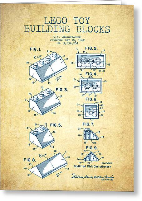 Science Fiction Art Greeting Cards - Lego Toy Building Blocks Patent - Vintage Paper Greeting Card by Aged Pixel