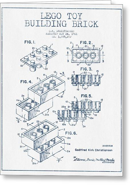 Science Fiction Art Greeting Cards - Lego Toy Building Brick Patent - Blue Ink Greeting Card by Aged Pixel