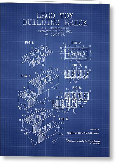 Lego Toy Building Brick Patent From 1961 - Blueprint Greeting Card by Aged Pixel