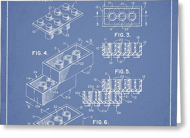 Lego Toy Building Brick Patent - Light Blue Greeting Card by Aged Pixel