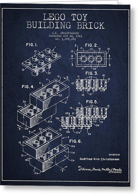 Lego Digital Art Greeting Cards - Lego Toy Building Brick Patent - Navy Blue Greeting Card by Aged Pixel