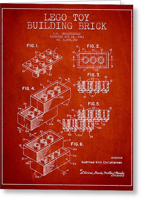 Recently Sold -  - Lego Greeting Cards - Lego Toy Building Brick Patent - Red Greeting Card by Aged Pixel