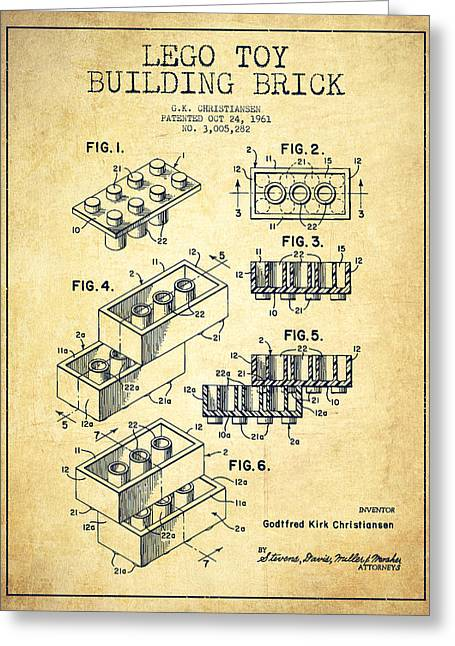 Bedroom Wall Art Greeting Cards - Lego Toy Building Brick Patent - Vintage Greeting Card by Aged Pixel