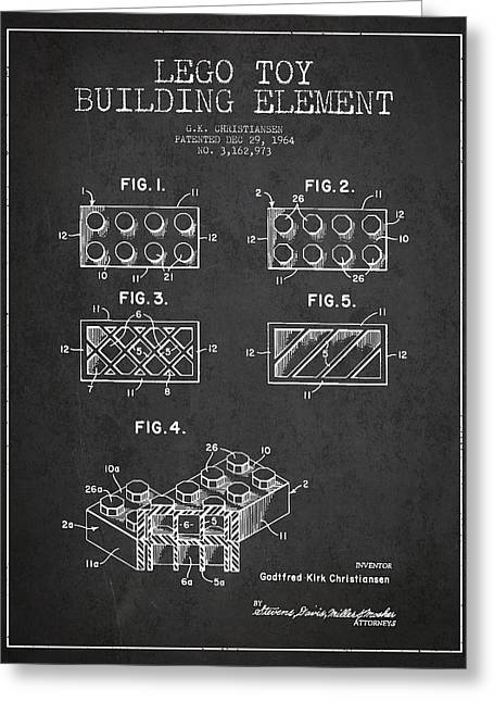 Science Fiction Art Greeting Cards - Lego Toy Building Element Patent - Dark Greeting Card by Aged Pixel