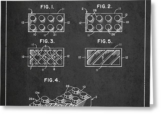 Lego Toy Building Element Patent - Dark Greeting Card by Aged Pixel