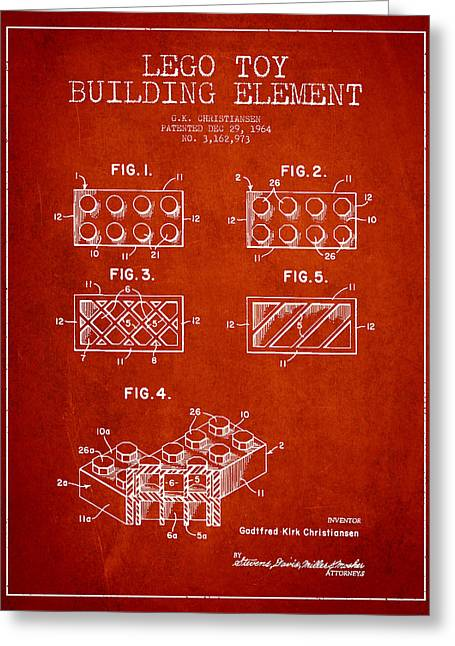 Science Fiction Art Greeting Cards - Lego Toy Building Element Patent - Red Greeting Card by Aged Pixel