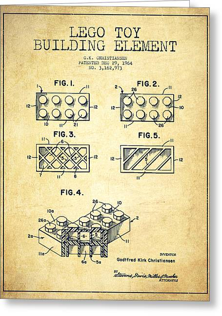 Kids Room Art Greeting Cards - Lego Toy Building Element Patent - Vintage Greeting Card by Aged Pixel