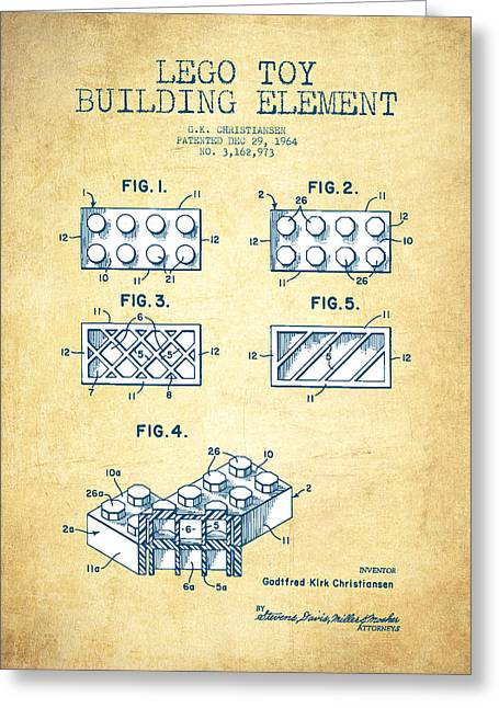 Lego Greeting Cards - Lego Toy Building Element Patent - Vintage Paper Greeting Card by Aged Pixel