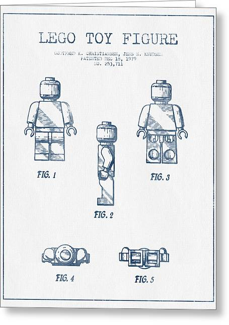 Technical Greeting Cards - Lego Toy Figure Patent - Blue Ink Greeting Card by Aged Pixel