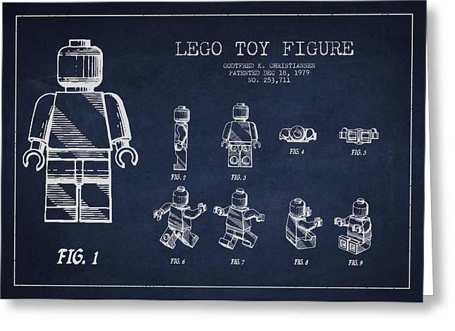 Science Greeting Cards - Lego toy Figure Patent Drawing Greeting Card by Aged Pixel