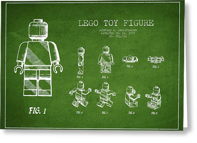 Figure Drawing Digital Art Greeting Cards - Lego toy Figure Patent Drawing from 1979 - Green Greeting Card by Aged Pixel