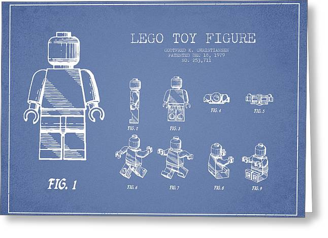 Lego Digital Art Greeting Cards - Lego toy Figure Patent Drawing from 1979 - Light Blue Greeting Card by Aged Pixel
