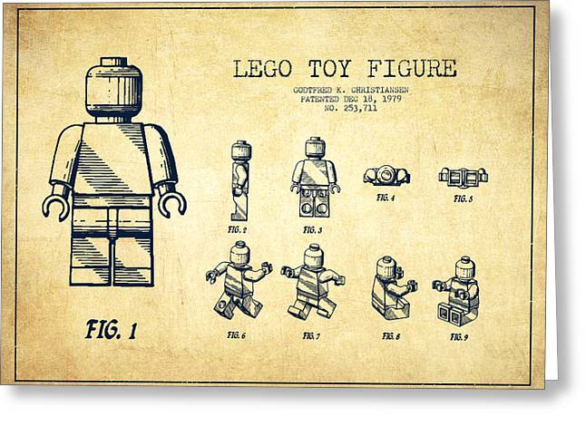 Figure Digital Art Greeting Cards - Lego toy Figure Patent Drawing from 1979 - Vintage Greeting Card by Aged Pixel
