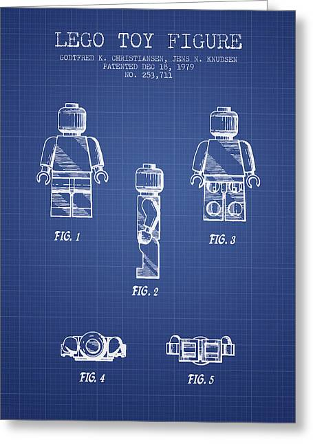 Science Fiction Art Greeting Cards - Lego Toy Figure Patent from 1979- Blueprint Greeting Card by Aged Pixel