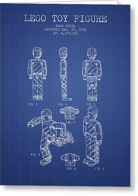 Lego Digital Art Greeting Cards - Lego Toy Figure Patent from 1983- Blueprint Greeting Card by Aged Pixel