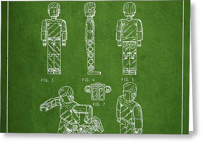 Lego Toy Figure Patent - Green Greeting Card by Aged Pixel
