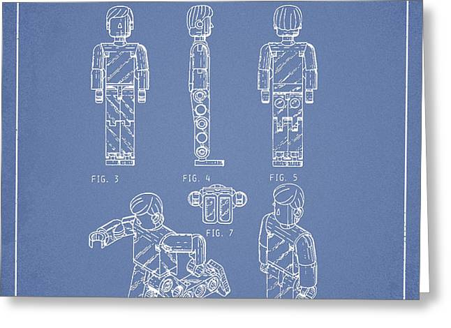 Lego Toy Figure Patent - Light Blue Greeting Card by Aged Pixel