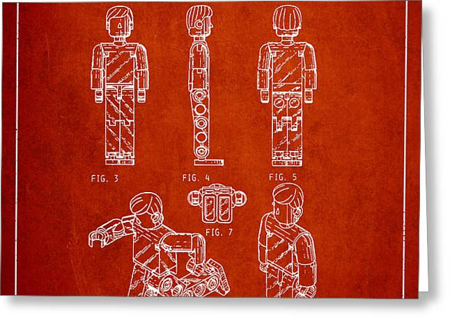 Lego Toy Figure Patent - Red Greeting Card by Aged Pixel