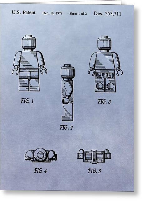 Lego Greeting Cards - Lego Toy Patent Greeting Card by Dan Sproul