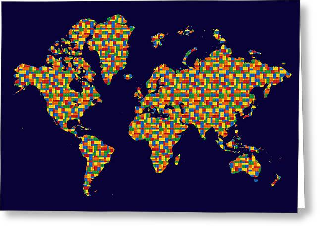 Lego Greeting Cards - Building Blocks World Map Greeting Card by Andrew Fare