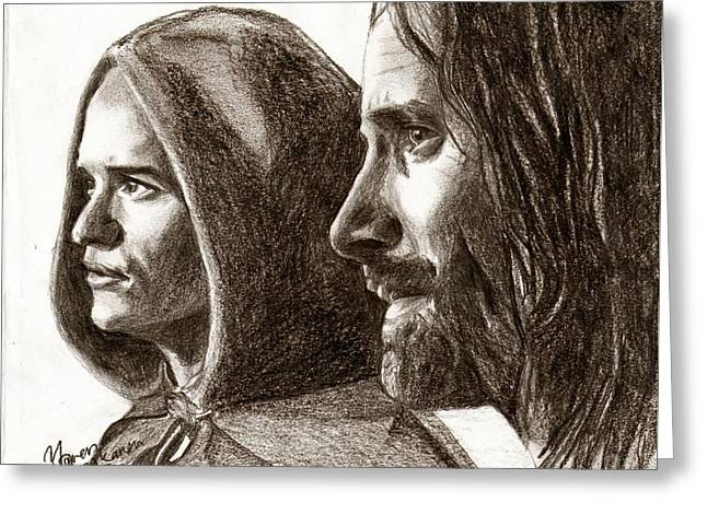 Legolas And Aragorn Greeting Card by Maren Jeskanen