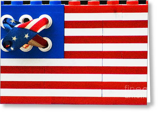 Juvenile Wall Decor Mixed Media Greeting Cards - Legos American Flag Greeting Card by Anahi DeCanio - ArtyZen Studios